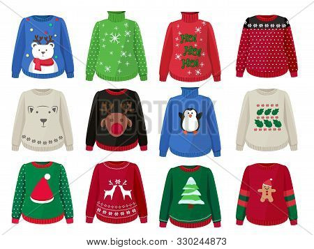 Christmas Sweaters. Funny Ugly Clothes With Christmas Decoration Vector Cartoons. Knitwear Handmade