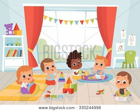 Children Playing Room. Little New Born Or 1 Years Baby With Toys Indoors Vector Kids Characters. Kin