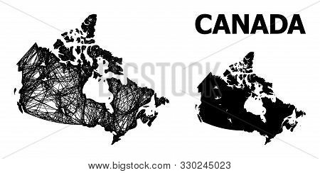 Web Vector Map Of Canada. Linear Frame Flat Network In Eps Vector Format, Geographic Model For Polit