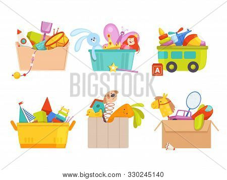 Toys Box. Children Toy Cars Rocket Soccer Bear Gifts For Kids Vector Packages Collection. Toy Box Wi