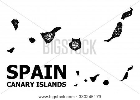 Net Vector Map Of Canary Islands. Wire Frame Flat Mesh In Vector Format, Geographic Model For Educat