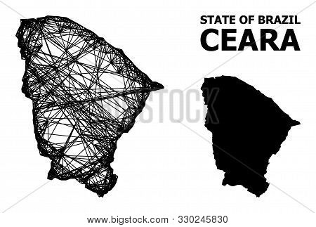Net Vector Map Of Ceara State. Wire Carcass 2d Network In Eps Vector Format, Geographic Template For