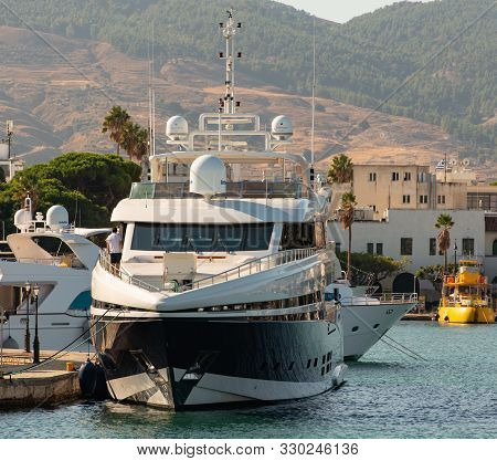 Kos, Greece - September 29, 2019: Charteryacht Tatiana In The Harbor Of Kos Town On The Island Kos G