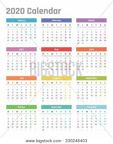 Calendar For 2020 Starts Monday, Vector Calendar Design 2020 Year