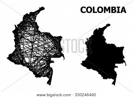 Web Vector Map Of Colombia. Wire Frame Flat Network In Eps Vector Format, Geographic Model For Patri