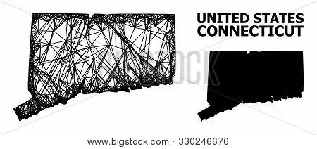 Net Vector Map Of Connecticut State. Linear Frame Flat Network In Eps Vector Format, Geographic Mode