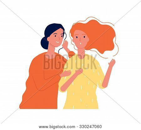 Woman Secrets. Ladies Girlfriends Speaking About Surprise Gossiping Whispering Vector Concept. Illus