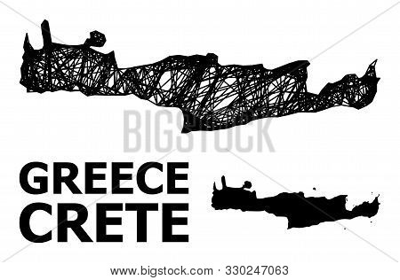 Web Vector Map Of Crete Island. Wire Frame Flat Network In Eps Vector Format, Geographic Model For E
