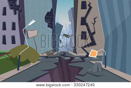 Damaged City. Destroyed Urban Landscape Cracked Ground And Houses Collapsed Nature Disaster Faults V