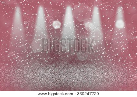 Red Cute Sparkling Abstract Background Stage Spotlights With Sparks Fly Defocused Bokeh - Festal Moc