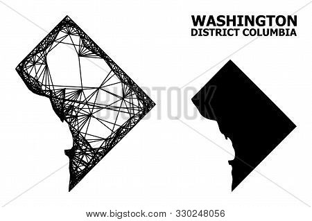 Web Vector Map Of District Columbia. Linear Carcass Flat Mesh In Eps Vector Format, Geographic Templ