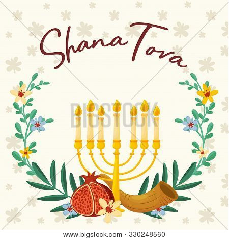Symbols Of Shana Tova Jewish Holiday New Year Vector Illustration