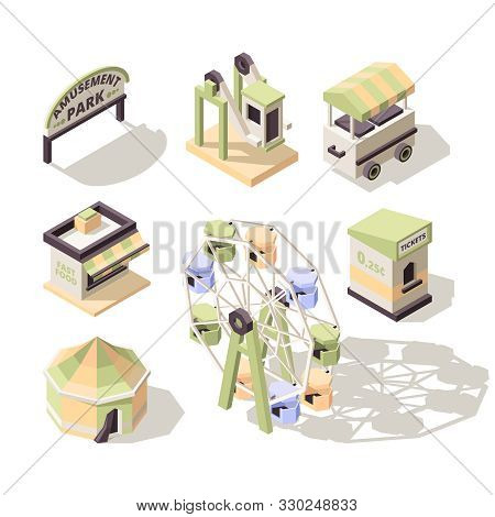 Amusement Isometric. Carousel Fun Park For Kids With Attractions Big Wheel Electro Cars Swing Vector