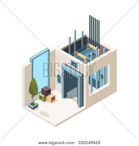 Elevator Room. Building Machine Hall Elevator Cabin Mechanism In House Apartment Vector Isometric In