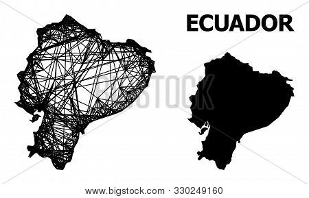 Net Vector Map Of Ecuador. Wire Carcass Flat Mesh In Vector Eps Format, Geographic Template For Poli