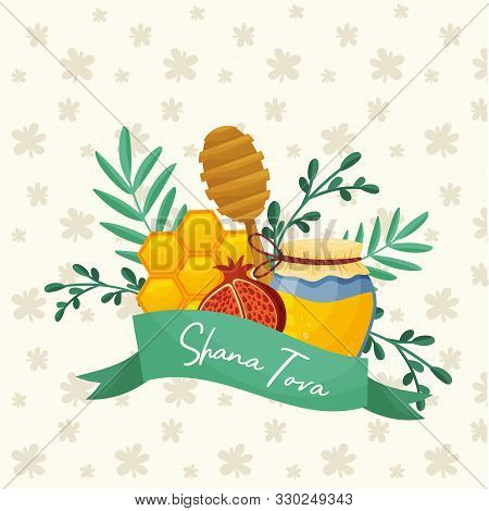 Jewish Traditional Symbols Of Shana Tova Holiday Vector Illustration