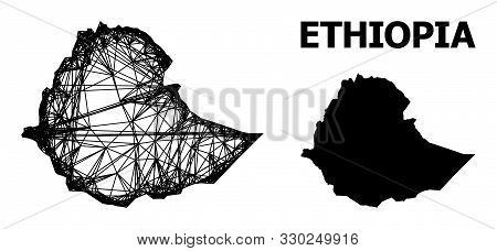Net Vector Map Of Ethiopia. Linear Carcass 2d Mesh In Vector Format, Geographic Model For Economical