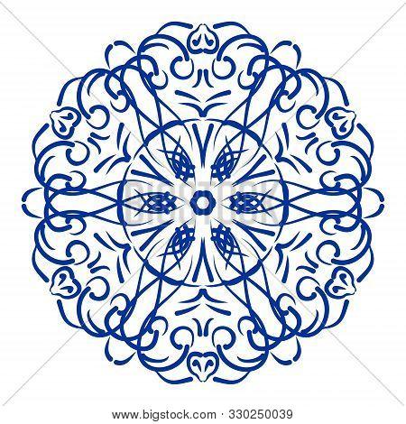 Antique Blue Cobalt Ceramics Design, Vintage Traditional Folklore Circle Patterns In Oriental Style