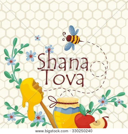Symbols Of Traditional Jewish Holiday Shana Tova Concept Vector Illustration