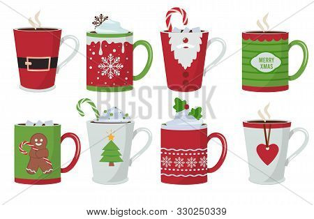 Christmas Cup. Holiday Hot Coffee Drinks Mug Decoration Vector Christmas Design. Christmas Drink Cof