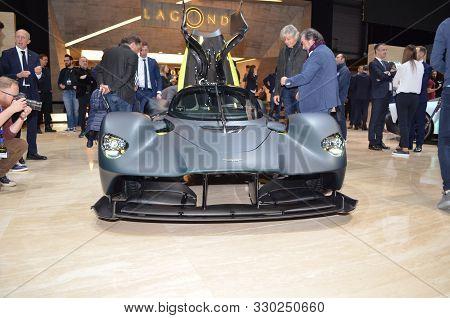 Geneva, Switzerland - March 06, 2019: Aston Martin Valkyrie - Geneva International Motor Show 2019