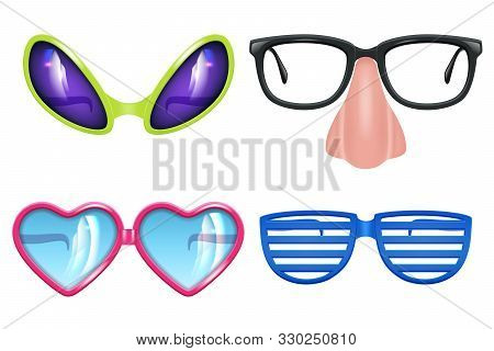 Masquerade Glasses. Celebration Funny Items Different Forms Of Party Mask Glasses Vector Realistic C
