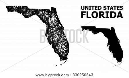 Web Vector Map Of Florida State. Linear Frame 2d Mesh In Vector Format, Geographic Model For Economi