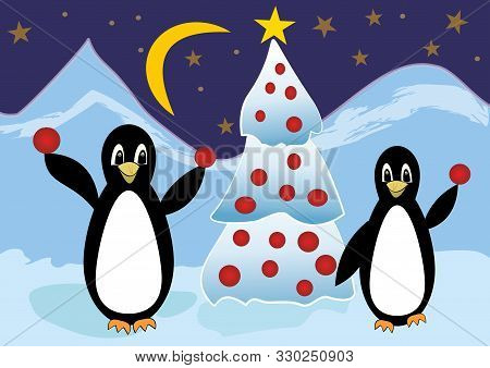 Two Penguins In Ice Mountains With Christmas Tree, Cute Christmas Card With Animals Playing With Chr