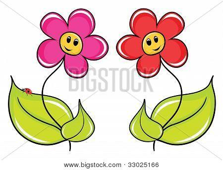 Two fine cartoon of a flowers