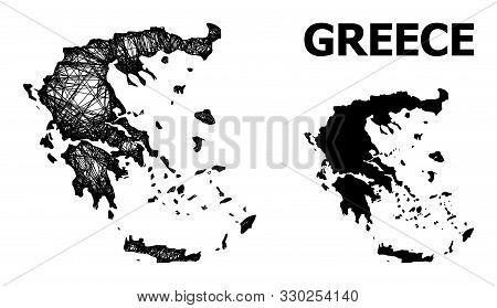 Net Vector Map Of Greece. Wire Frame Flat Network In Vector Format, Geographic Template For Politica