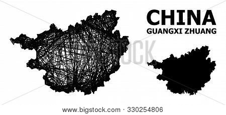 Net Vector Map Of Guangxi Zhuang Region. Wire Carcass Flat Network In Vector Format, Geographic Temp