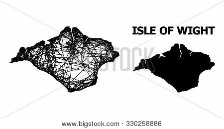 Web Vector Map Of Isle Of Wight. Wire Frame Flat Network In Vector Eps Format, Geographic Model For