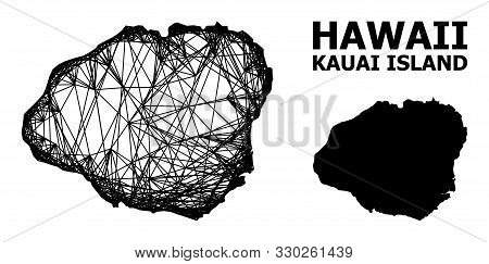 Net Vector Map Of Kauai Island. Wire Frame Flat Network In Eps Vector Format, Geographic Model For E