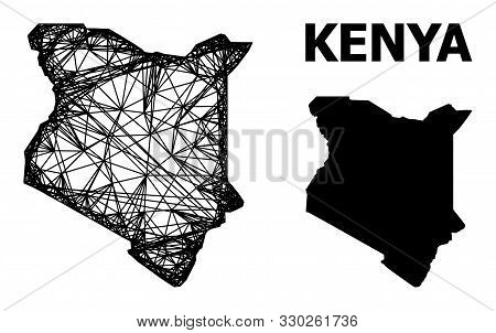 Web Vector Map Of Kenya. Linear Carcass Flat Mesh In Eps Vector Format, Geographic Model For Economi