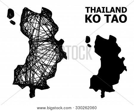 Web Vector Map Of Ko Tao. Linear Frame Flat Network In Vector Eps Format, Geographic Template For Po