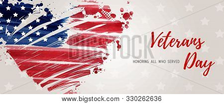 Usa Veterans Day Background. Abstract Grunge Brushed Flag In Heart Shape. Template For United States