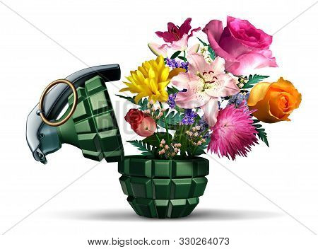 Grenade Weapon And Flowers As A Symbol For Terror Or War And Peace On A White Background As An Unexp