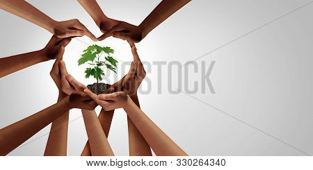 Earth Day And Earthday As Group Of Diverse People Joining To Form Heart Hands Connected Together Pro