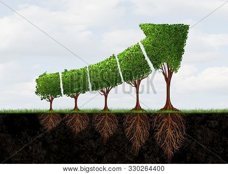 Growing Economic Success Business Growth As An Abstract Concept For Profit Graph Made With Plants Sh