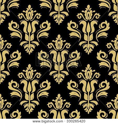Classic Seamless Vector Pattern. Damask Orient Ornament. Classic Vintage Black And Golden Background