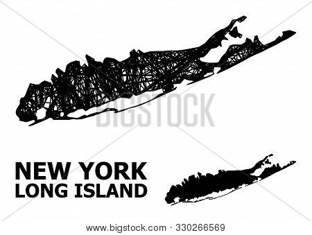 Web Vector Map Of Long Island. Linear Frame 2d Mesh In Vector Eps Format, Geographic Template For Ec