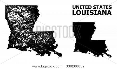 Net Vector Map Of Louisiana State. Wire Frame Flat Mesh In Eps Vector Format, Geographic Model For P