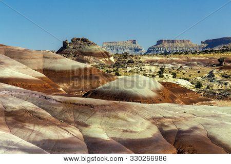 Bentonite Hills In Cathedral Valley, Capital Reef National Park, Utah.