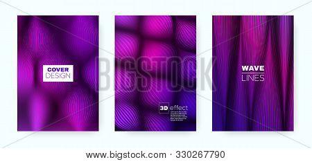 Purple Fluid Poster. Headline Cover. Pink Business Background. Neon 3d Geometric Halftone Texture. F