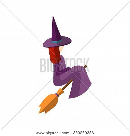 Vector Flat Illustration Of Cute Witch Sitting On A Broom, And Flying On A Broom. Magical Flat Icon