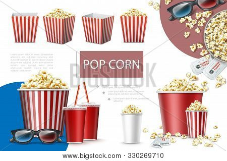 Realistic Popcorn Elements Composition With Paper Bags And Buckets Of Popcorn Soda Cups Cinema Ticke