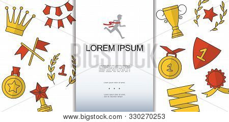 Hand Drawn Award Icons Concept With Crossed Flags Gold Medals Laurel Wreath Crown Cup Star Badge Gar