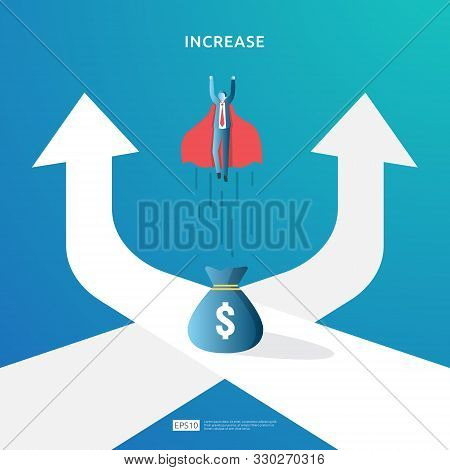 Income Salary Rate Increase Concept Illustration With People Character And Arrow. Finance Performanc