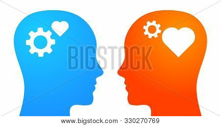 Thinking Vs Feeling. Emotional And Rational Intelligence. Heads With Heart And Gears. Vector Illustr