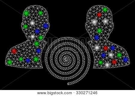 Bright Mesh Hypnosis Sect With Glow Effect. White Wire Carcass Polygonal Mesh In Vector Format On A